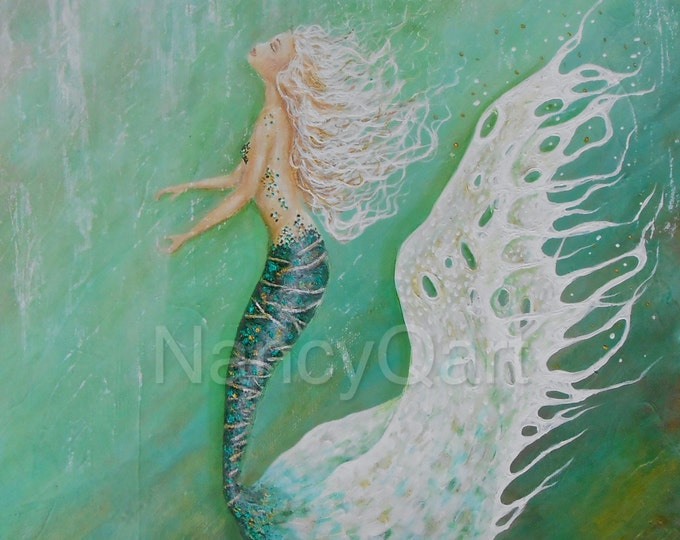 Original OOAK mermaid painting, 16x20 green mermaid painting, mermaid wall art on stretched canvas.  Original painting by Nancy Quiaoit.