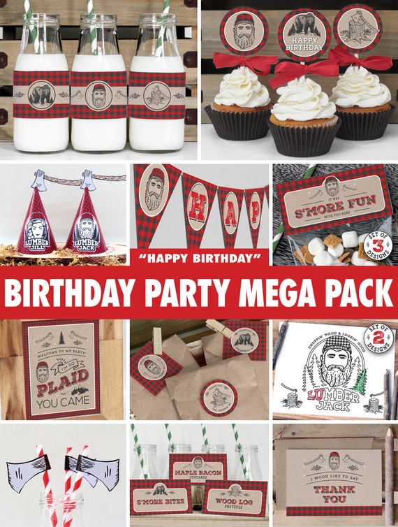 Birthday party mega pack lumberjack instant download for 1st birthday decoration packs