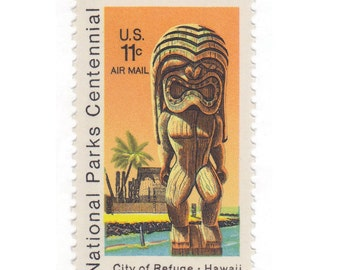 10 Vintage Unused US Postage Stamps - 1972 11c National Parks Centennial Hawaii - Item No. C84