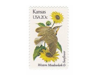 10 Unused Vintage Postage Stamps - 1982 20c Kansas - Meadowlark & Sunflower - Item No. 1968