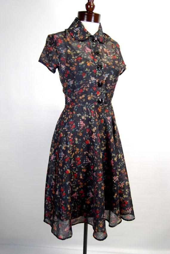 1930s Style Fashion Dresses Double Happiness Reversible Vintage Day Dress 3-in-1 Dresses Blue/Black Floral Print with Black Cotton Slip Dress  AT vintagedancer.com