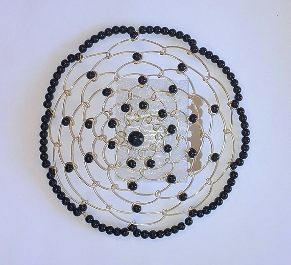beaded kippah in black with silver wire by shukisjudaica