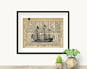 Ship - Vintage Dictionary Page Art Print
