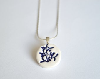 Ceramic pendant necklace with mistletoe, royal blue jewelry, delft blue necklace, ceramic jewelry, gift for her