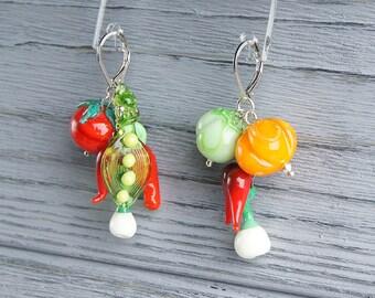 Vegetables lampwork earrings, glass vegetables, nature earrings, garden earrings, colorful earrings, red green earrings, harvest earrings