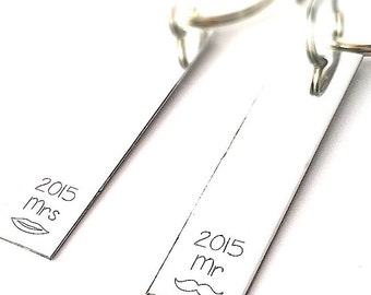 Personalized Keychains - Mr and Mrs Key Chains - Set Of Two Handstamped keychains - Weeding Gift - Mustache