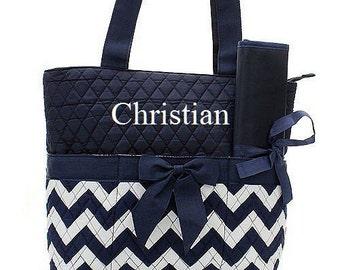 Monogrammed Navy and White Chevron Diaper Bag  Monogrammed Diaper Bag  Diaper Bag for Girl