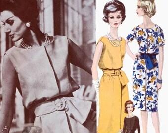 CLASSY 60s VOGUE Paris Original 1160 Guy Laroche Lovely Slim Dress Beautiful Style Bust 34 Vintage Sewing Pattern