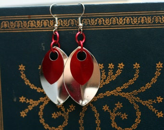 Red and Silver Scalemaille Earrings