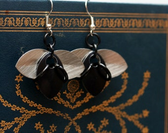 Black and Silver Tri-Scale Earrings