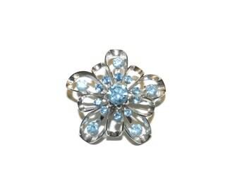 Cora Blue Gemstone Flower Brooch, Cora Pin, Cora Brooch, Blue Brooch,
