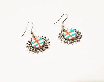 Orange Anchor Stripe Glass Earrings