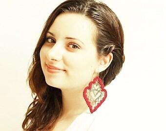 Burgundy Crochet Medallion Earrings