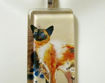 Splash paint cat art pendant and chain - CGP02-163