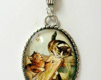 What butterfly cat pendant with chain - CAP09-008