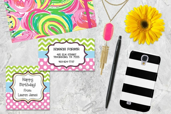 Personalized Gift Tags, Chevron Gift Tags, Chevron, Dots, Blue, Lime Green, Pink, Tags, Business Cards, Calling Cards, Appointment Cards,