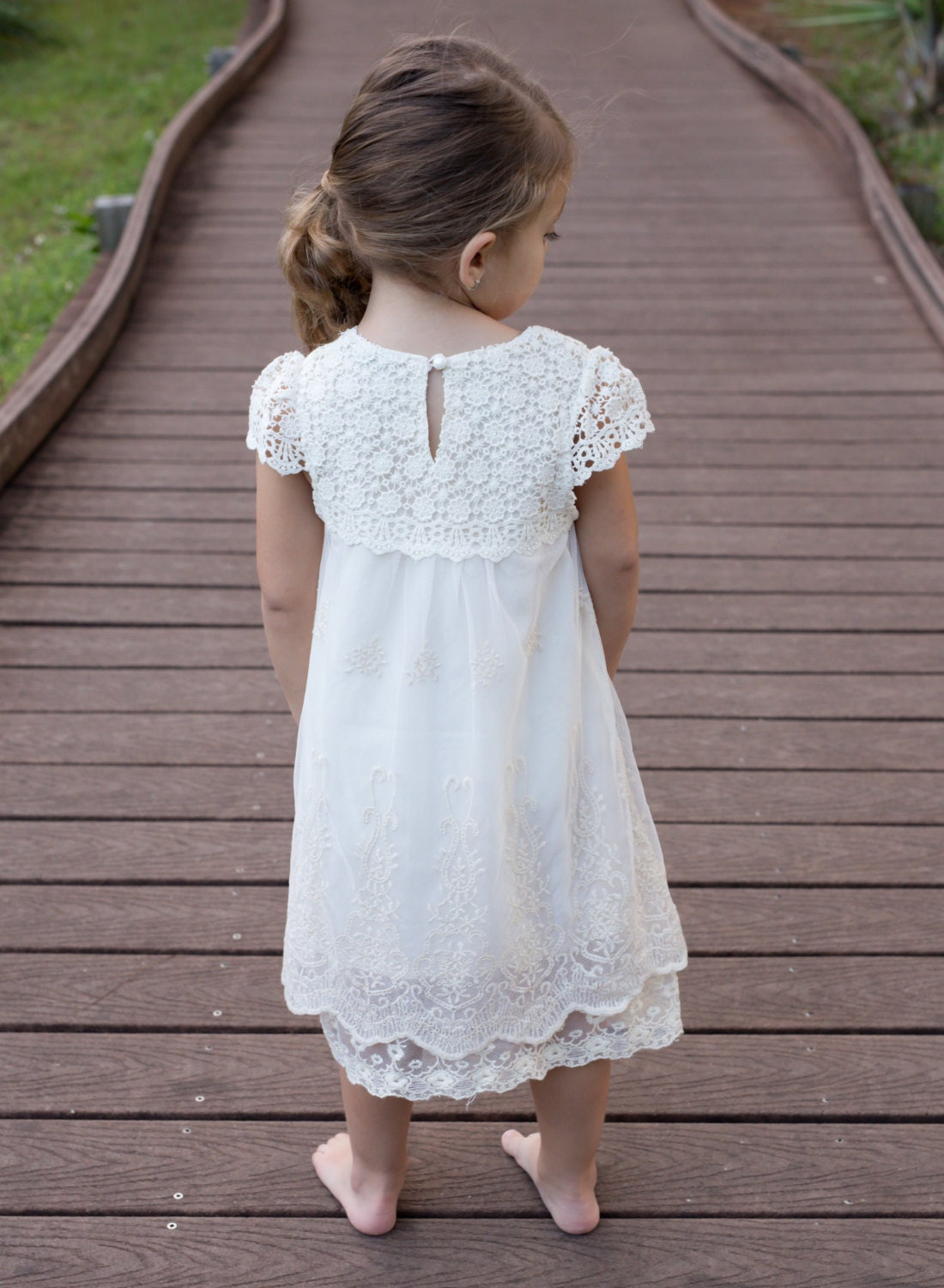 Crochet Flower Girl Dress Rustic Flower Girl by CountryCoutureCo