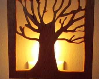 Wooden Tree Silhouette Nightlight, Shadow Night Light, Handmade Nightlight - Pecan Color