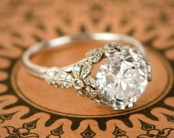 3.28ct Old European Diamond Engagement Ring - Edwardian Style - Platinum Engagement Ring