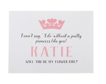 Princess Flower Girl Card ~ Flower Girl Proposal ~ Will You Be My Flower Girl