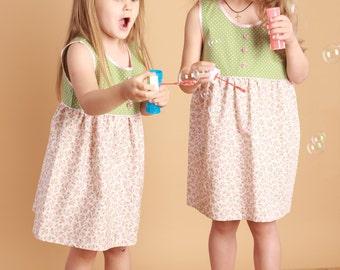 Spring-Summer Kids Day Dress Sizes 3, 4, 5, 6, 7 years / Toddler Polka Dot & Floral Print Cotton Dress/Oversized Tomboy Dress/ Peasant Dress