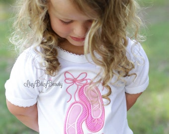 Girls ballet slippers personalized dance shirt pink custom name embroidered shirt