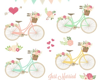 """Bicycle Clipart  """"BIKE CLIPART"""" Floral Bicycle, PNG Bike Clipart, Wedding Invitation, Bike Clipart, Arrows, Flower Basket, Commercial Use"""