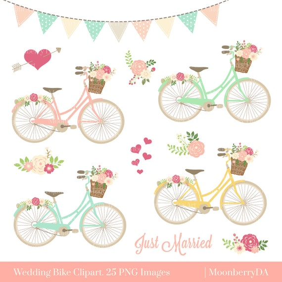 Bicycle Clipart BIKE CLIPART Floral PNG Bike Wedding Invitation Arrows Flower Basket Commercial Use From