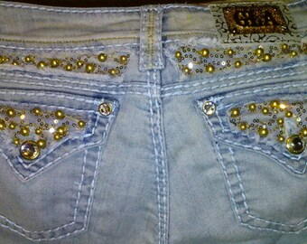 Grace in LA usa jeans with gold beads and sequins