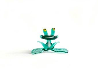 Glass Frog Figurine Art Glass Sculpture Glass Figurine Glass Figure Animal