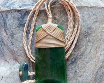 Bound Maori Jade Carving Toki Pendant from New Zealand