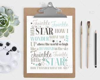 Twinkle Twinkle little star how I wonder what you are - PRINTABLE Wall Art / Twinkle Twinkle Nursery Art / Nursery Print / 3 Color Options