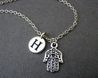 Hamsa Hand Necklace, Hamsa Hand Keychain, Middle Eastern Protection Amulet Bangle Bracelet, Evil Eye Hand Necklace, Happiness Luck Health