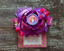 Sophia the First Hair Bow - Hair Clip - Sophia Bow - Sophia Outfit - Sophia Birthday - Birthday Hair Bow - Birthday Outfit - Gift