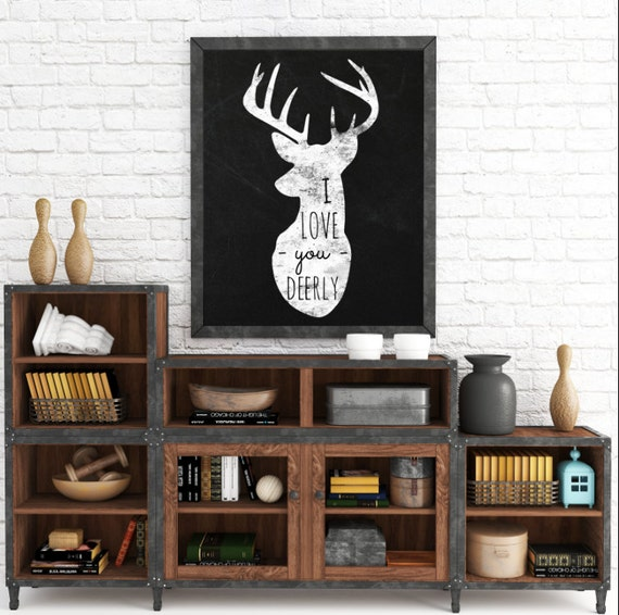 Romantic Gifts, Whimsical Prints, I Love You Deerly, Deer Head, Black and White Typography, Wall Art Prints, Instant Download