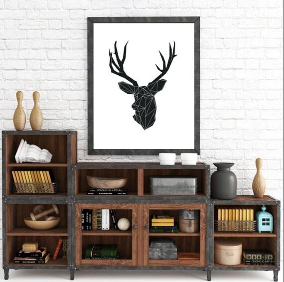 Nordic Design, Geometric Animals, Minimalist Deer, Deer Wall Prints, Animal Art, Geometric Deer, Wall Art Prints, Origami Art, Animal Prints