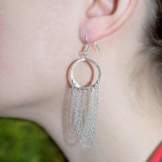 Long Drop Earrings - Sterling Silver Dangle Earings - Bohemian Dangling Jewelry - Stud Earrings - Thread Earrings