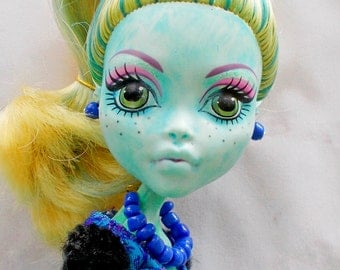 Blue Bead Doll Necklace Earrings, Monster Doll Jewelry, Bratz Ever After High Necklace Earrings, Blue Bead Jewelry