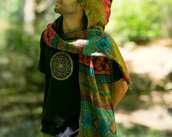 Hoodie Scarf - Gypsy Wool Kashmiri Hoddie Scarf Bohemian Hippie Style Tribal Stylish Warm Scarf Men Festival Rave Doof Tribal Pattern