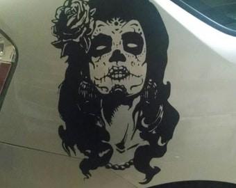 Day Of The Dead // Girl // Vinyl // Decal // sticker // wall // de los muertos // sugar skull // car // room decor // gothic // AA58