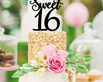 Sweet 16 Cake Topper - 16th Birthday Cake Topper