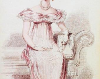 Parisian Evening Dress –Fashion Engraving From La Belle Assemblée Jan 1816