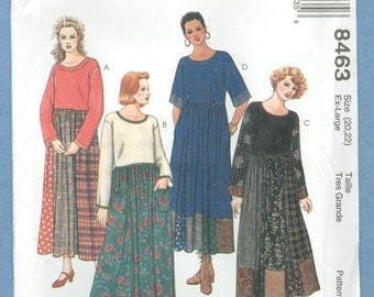 1996 Misses' Loose Fitting Pullover Dress with Gored Skirt Size 20-22 - Vintage McCall's Sewing Pattern 8463