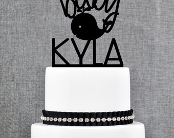Baby Name Topper with Whale, Custom Baby Name Topper, Baby Whale Cake Topper- (T098)