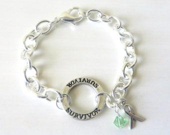 Lymphoma Survivor Lime Green Charm Bracelet Crystal Charm and Sterling Silver Awareness Ribbon Charm