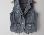 Extra Large Corduroy Vest Women's Fitted Vest Blue Everyday Waistcoat
