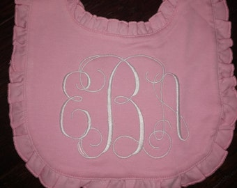 Custom Boutique Style Ruffled Monogrammed Baby Bib! Adorable, cute, baby, toddler, kid, monogram, cotton, chennile
