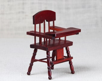 Baby High miniature dollhouse Chair, Antique Furniture in Original Box -  High Chair, Miniature Nursery, traditional christening gifts