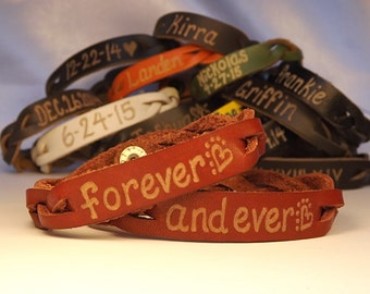 His and Hers Engraved Bracelets - Personalized Couples Braided Bracelets - Custom Leather Bracelets - his and her name bracelets