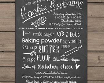 Holiday Cookie Exchange Invitation Cookie party invite Cookie Swap Invite Recipe invitation Holiday Christmas Cookie decorating PRINTABLE